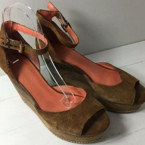 Fergie Dietra Suede Leather Wedge Platform Sandals